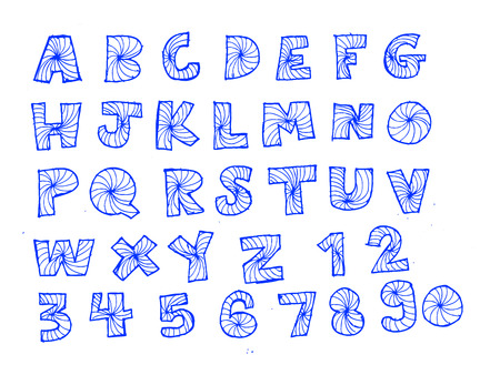 disegno a mano: Disegno Font schizzo a mano le lettere di vettore Vettoriali