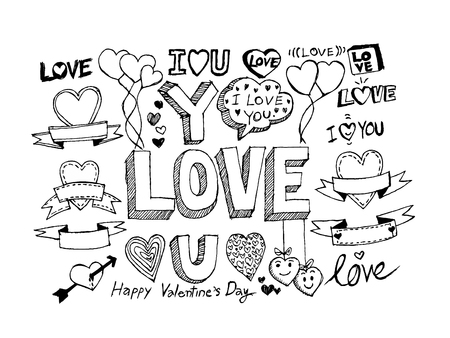 hand draw Valentine s day design, labels, icons elements collection