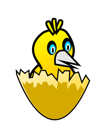 Bird in egg shell Vector