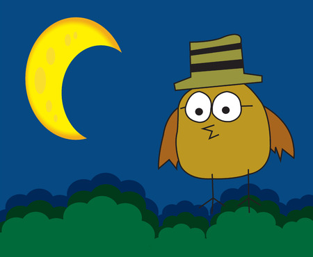 Bird at night Vector