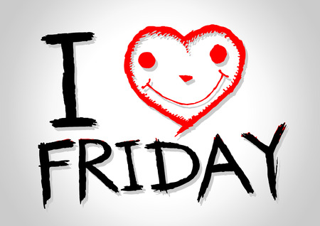 internet love: i love friday and i love weekend font signs draw by hand