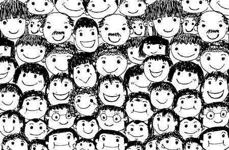 Gezicht mensen schets Menigte van grappige volkeren Stock Illustratie