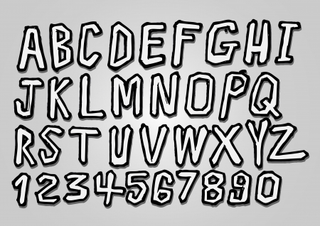 italics: vector real Hand drawn letters font written with a pen