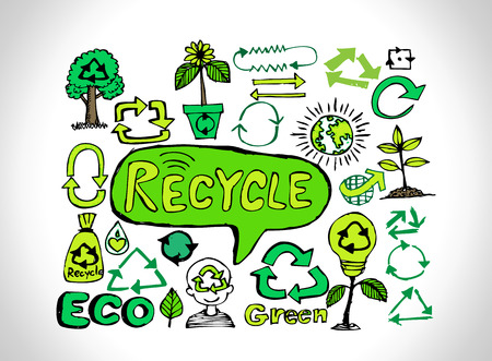 Eco Idea Sketch and Eco friendly Doodles  Vector
