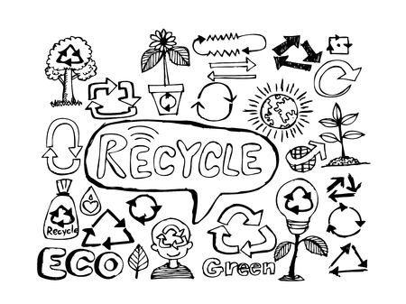 paper recycle: Eco Idea Sketch and Eco friendly Doodles  Illustration