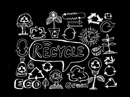 Eco Idea Sketch and Eco friendly Doodles  Ilustração