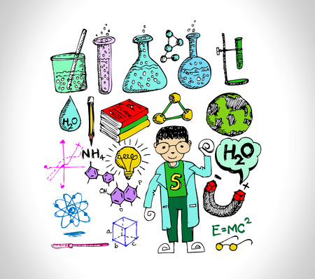 science object in doodle style design Vector