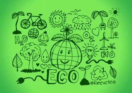 Eco Idea Sketch and Eco friendly Doodles  Vector