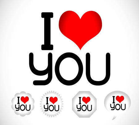 i love you Happy mothers day and happy fathers day with heart Vector