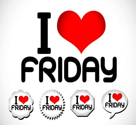 saturday: I Love The Days of the Week Sunday , Monday , Tuesday , Wednesday , Thursday , Friday , Saturday ,  Illustration