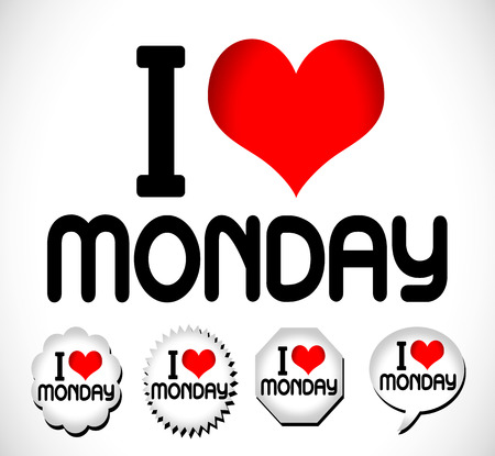 I Love The Days of the Week Sunday , Monday , Tuesday , Wednesday , Thursday , Friday , Saturday Vector
