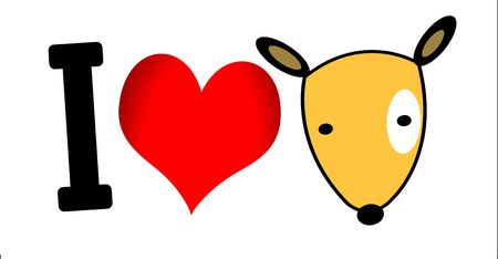 I Love Dog symbol and cute Dog  Vector