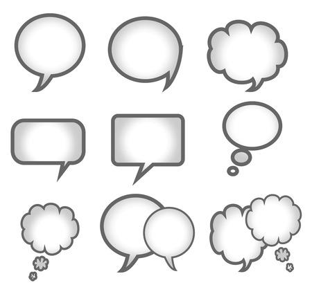 Blank empty speech bubbles