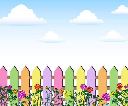 Fence spring flowers background