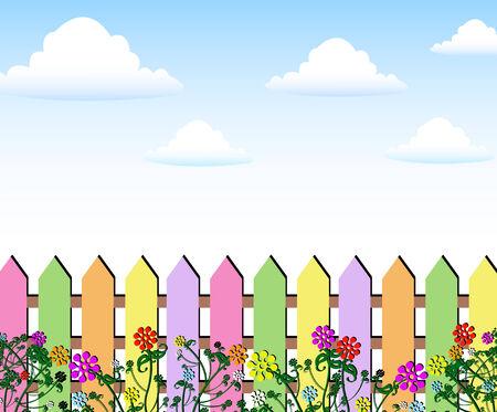 flowers background: Flores de primavera Valla fondo Vectores