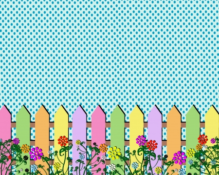 Fence spring flowers background  Vector