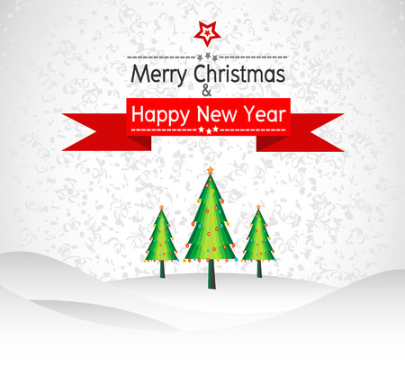 Merry Christmas And Happy New Year Landscape design Vector