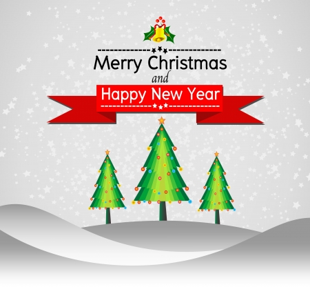 Merry Christmas And Happy New Year Landscape design in Vector work Vector