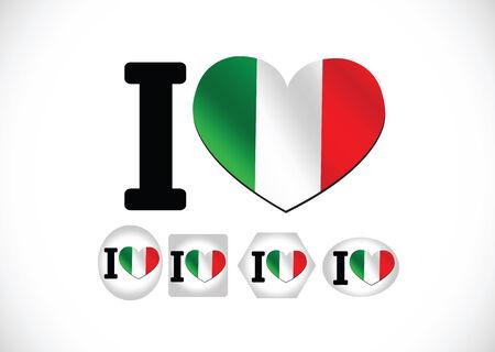 Italy flag icons theme idea for design  Vector