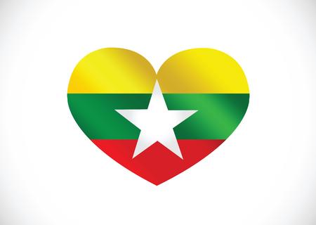 Myanmar flag or Burma flag themes idea design  Illustration