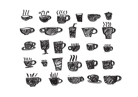 Coffee cup set or Tea cup icon collection design  Vector