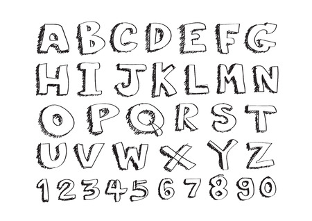 vector real Hand drawn letters font written with a pen Vector