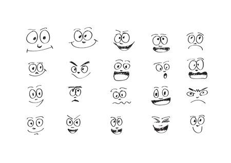 smirk: Cartoon faces Set Vector art illustration