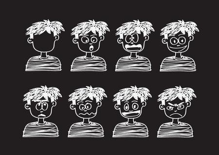 frown: Cartoon faces Set Vector art illustration