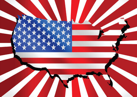 pinpoint: USA map and flag