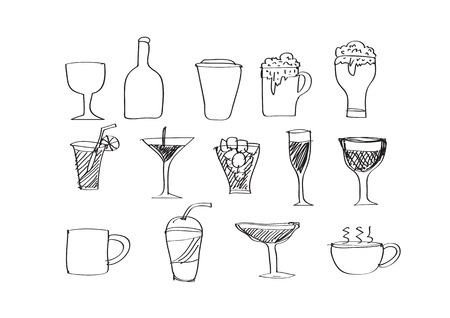 whie wine: Drink beverage icons set