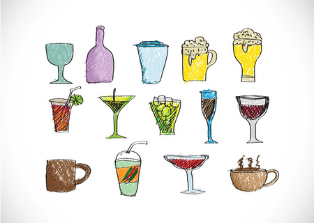 Drink beverage icons set Vector