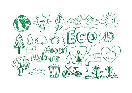 doodles ECO vector set Vector