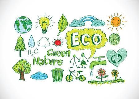 doodles ECO vector set  イラスト・ベクター素材