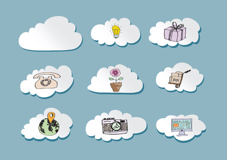 multi media: Cloud computing concept with Network contact