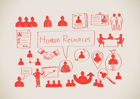 contracting: Human Resources icons Human Management idea