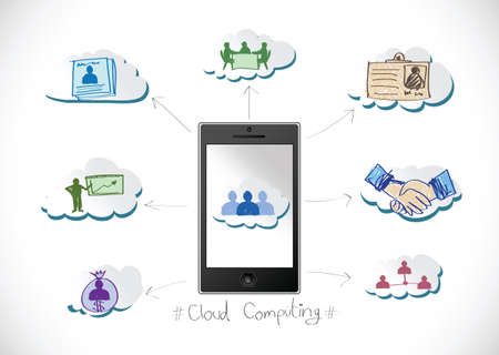 Cloud computing concept with Network contact  Vector