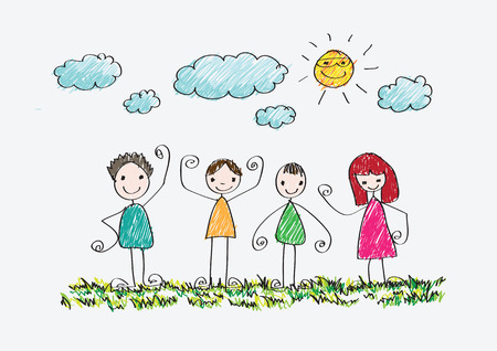 dessin enfants: enfants dessin photo de famille heureuse