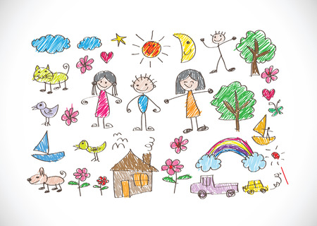 drawing an animal: kids drawing happy family picture