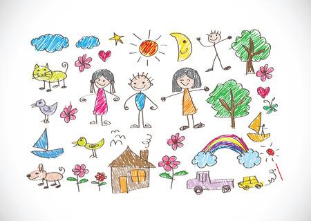 perro familia: niños de dibujo imagen feliz familia