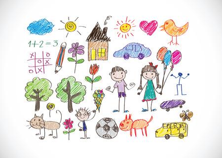 kinderen tekenen gelukkig gezin foto Stock Illustratie