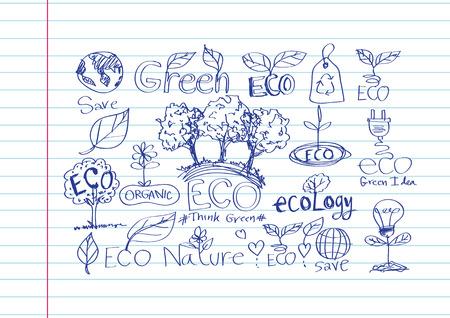 doodles ECO vector set Vector