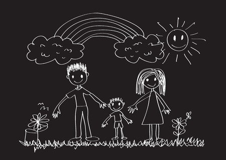 kids drawing happy family picture Vector