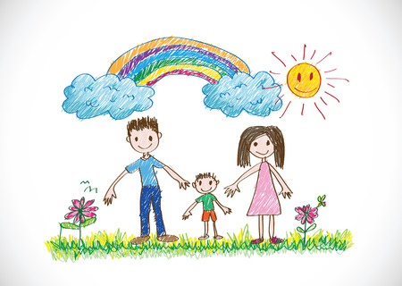 kids drawing happy family picture