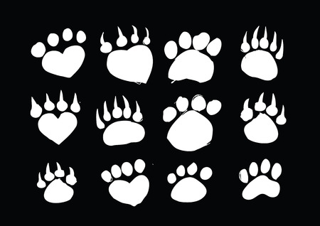 Animal footprints silhouettes Vector