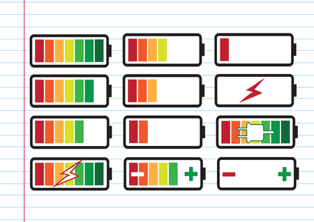 battery charge level indicators Set illustration Vector
