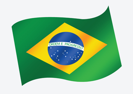 brazil country: Brazil map and flag theme idea design Illustration