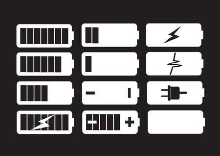 バッテリ充電レベルのインジケーター設定図  イラスト・ベクター素材