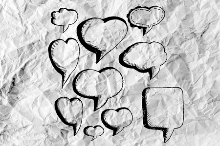 Speech Bubble Sketch hand drawn bubble speech idea design on crumpled paper photo
