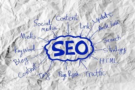 xhtml: Seo Idea SEO Search Engine Optimization on crumpled paper Stock Photo