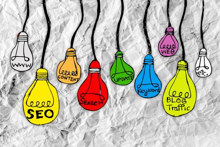 Seo Idea SEO Search Engine Optimization on crumpled paper Stock Photo - 26302762